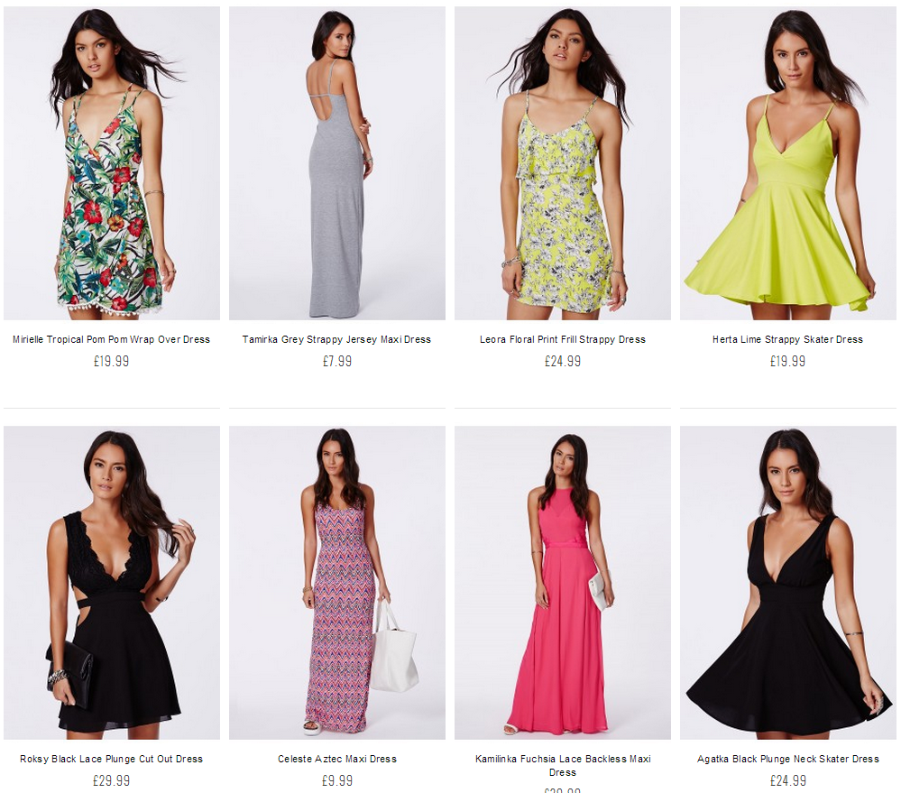A dress category page with more photography