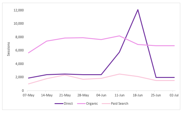 Google Analytics graph showing bot traffic spike