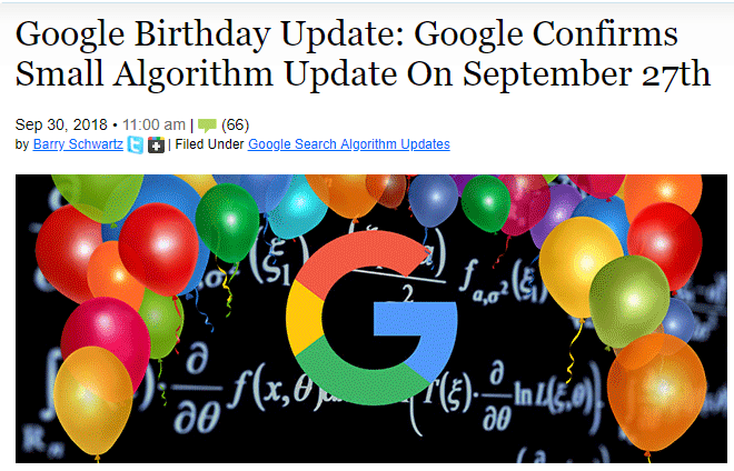 Google birthday update headline in search engine land