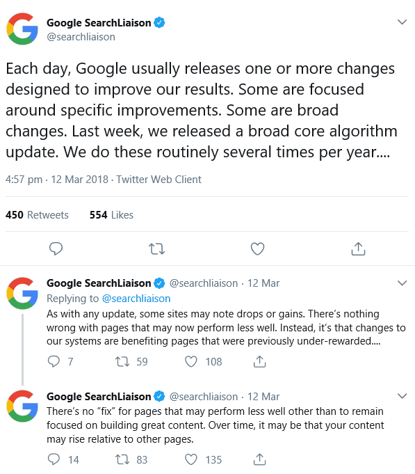 Google Searcliaison tweet