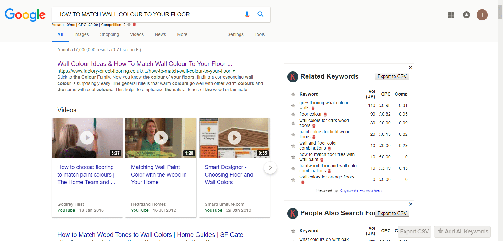 Google SERPS for flooring question