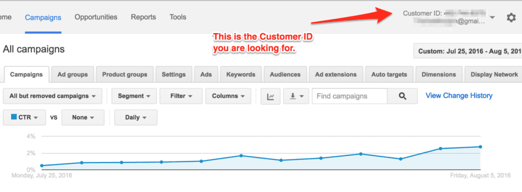How to find your adwords customer ID