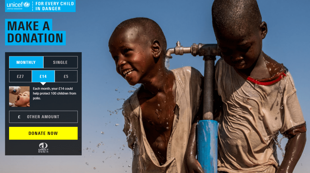 Unicef donation landing page