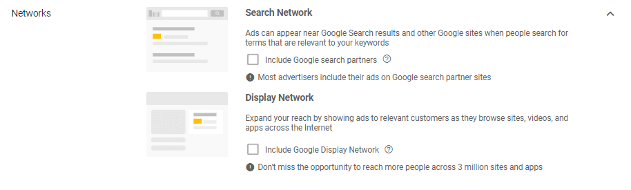 AdWords screen shot search partners