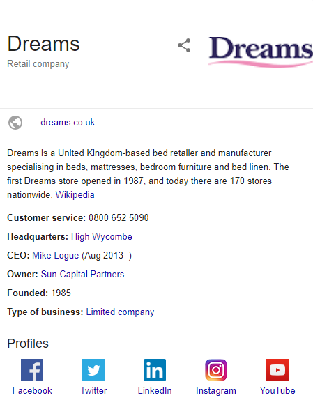 Dreams rich snippet using organization schema markup