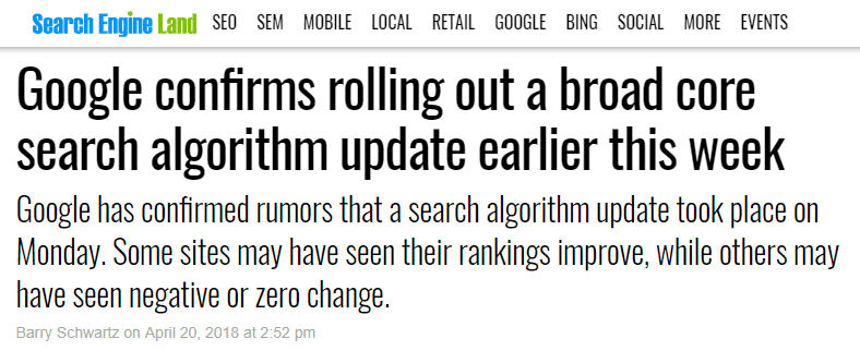 Google algorithm update april headline