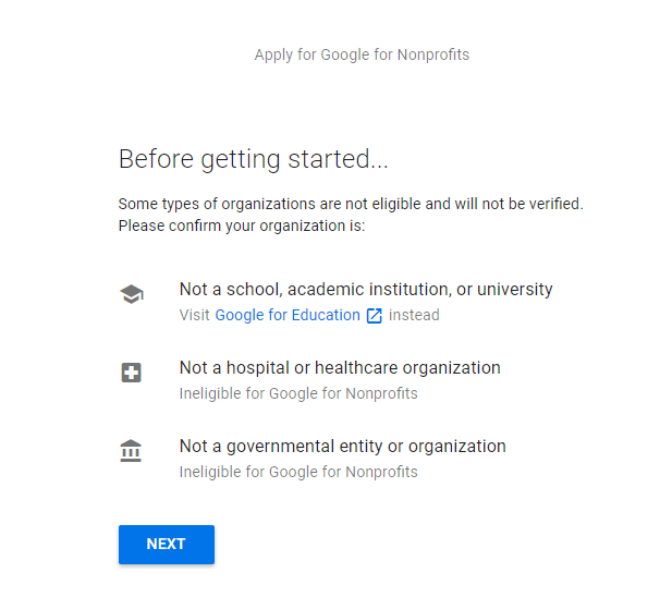 Google before getting started message
