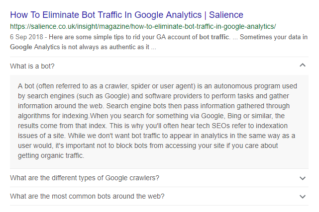 example of FAQ SCHEMA snippet with google bot traffic article