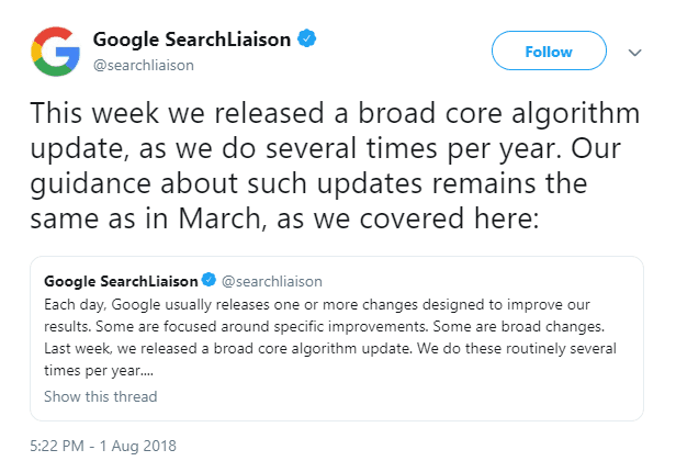 Google Search Liaison broad algorithm update tweet