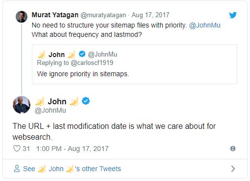 john mueller sitemap tweet