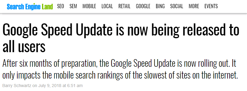 Pagespeed announcement from search engine land