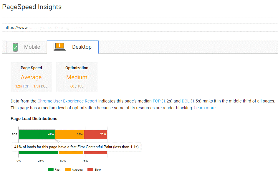 Pagespeed Insights tool screenshot