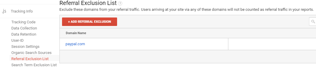 Google analytics referral exclusion list screen shot