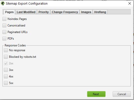 sitemap export configuration