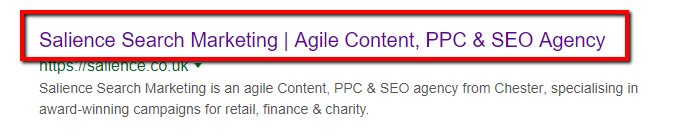 title tag example in serps