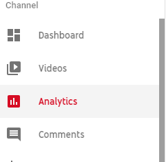YouTube Analytics navigation screenshot