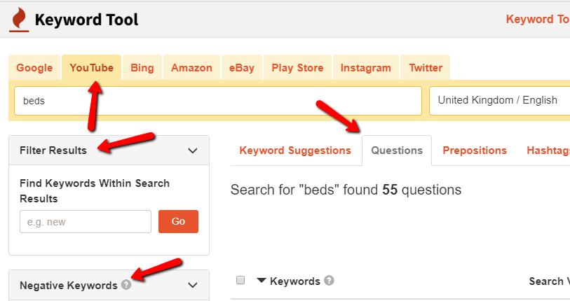 Keyword research in keywordtool.io's interface