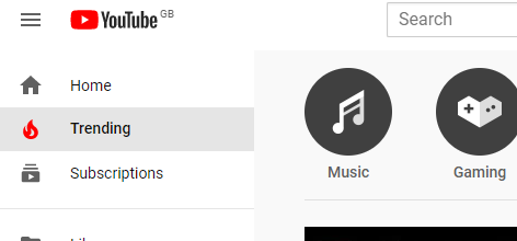 Screenshot of Youtube's Trending tab