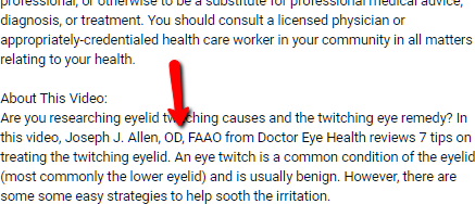 Example of relevant qualifications in YouTube video description