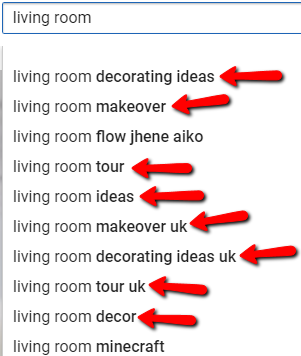 YouTube autosuggest for living room keyword
