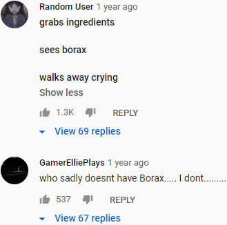 YouTube slime video comments for no borax