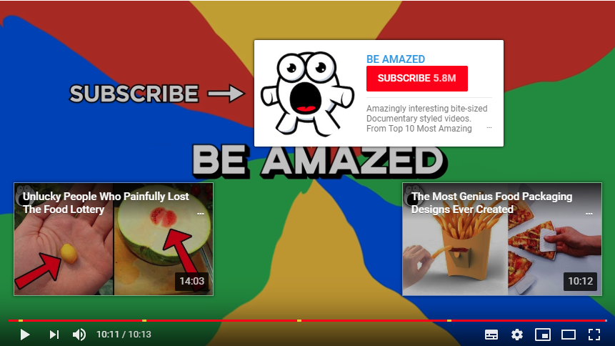 YouTube video showing Subscribe button